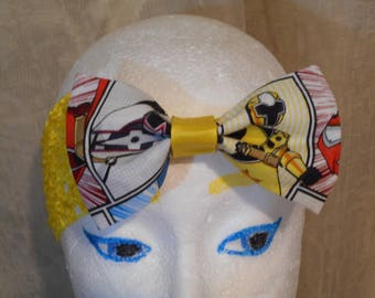 Yellow Power Rangers Print Fabric Hair Bow Yellow   Wide Stretchy Headband Ready To Ship