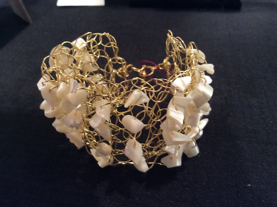 Handmade wire crochet cuff bracelet with white shells