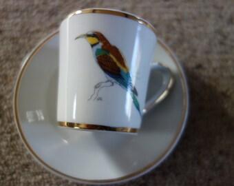 Vintage  European Bee Eater Bird Rowland Ward Demitasse Cup Saucer