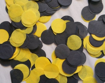 ONLY 1.00, 200 Pieces, 1 Inch Tissue Paper Circle Confetti, Pittsburgh Steelers, Black Yellow, Balloon Confetti, Table Sprinkle, Wedding