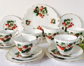 Regency China 'Strawberry Ripe' Tea Set, Staffordshire, 1950s.