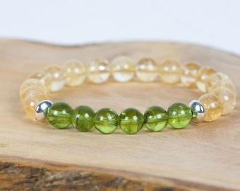 Citrine Gemstone Bracelet, Peridot Bracelet, Stacking Stretch Bracelet, Gemstone Bracelet, Handmade Jewelry, Gemstone Jewelry