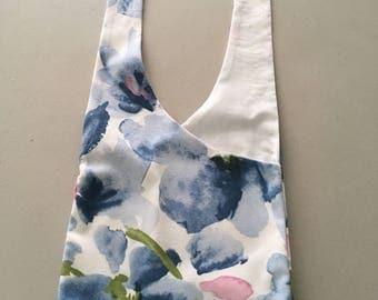 Handmade Upcycled Blue Floral Print Hobo Shoulder Purse