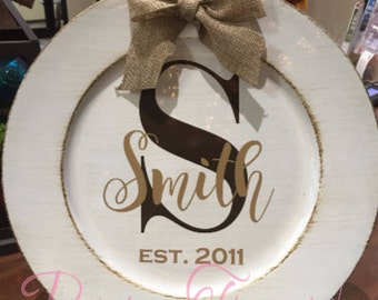 Home Decor Personailzed Plate, Rustic Wedding, Mantle, Weding Gift, Bridal Shower, Christmas Gift, Anniversary Gift, Burlap Bow, Cream,Brown