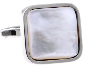 Silver Mother of Pearl Formal Square Pure Cuff Links Cufflinks