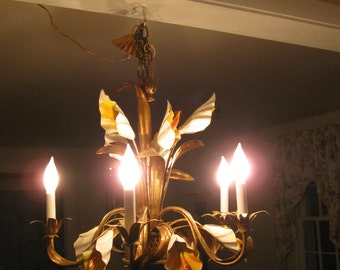 Divine,Vintage Italian Gold Gilt Tole Calla Lily Bouquet Five Light Chandelier W/Filigree Basket ...