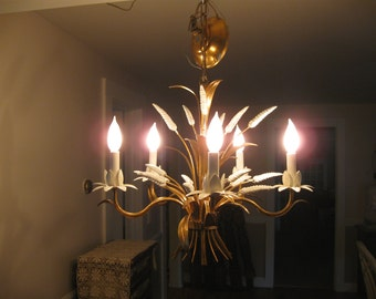 Chic,Vintage Italian Tole Gold Gilt  & White Sheaf of Wheat Five Light Chandelier...