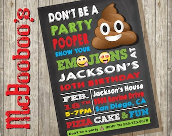 Emoji Party Pooper Birthday Invitation with large poop on a chalkboard background