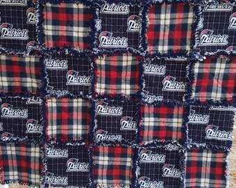 NE Patriots Baby Quilt, Football baby quilt, Baby Rag Quilt, Baby bedding