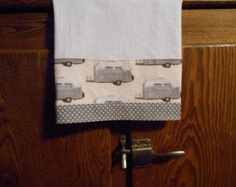 Flour Sack Dish Towel with Vintage Airstream Trailer Print