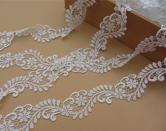 4cm White lace trim for DIY sewing,white circle lace trimming,flower hollow up trim