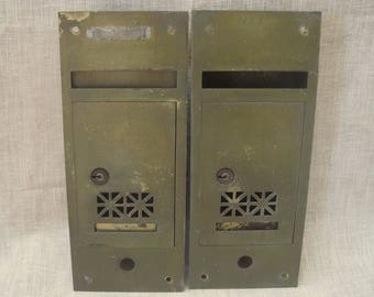 "Two Old Brass Finish Wall Mount Mailboxes Home Apartment Flats Front Slot Lock 11.25"" x 4.75"" 1930s-1940s"