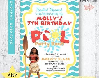 pool party invitation moana invitation moana pool party invitation moana printable invitation - Swimming Party Invitations