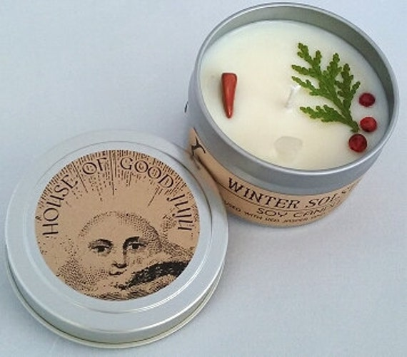 Winter Solstice Soy Candle infused with Red Jasper and Clear Quartz