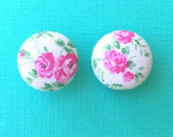 """Handmade """"Pink Rose Garden"""" White and Pink Floral Print Earrings 3/4"""""""