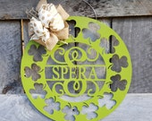 "St Patrick Door Hanger - Painted St Patty Wreath - Lucky Decor - Irish Wall Hanging - Personalized Door Hanger - 22"" Diameter"