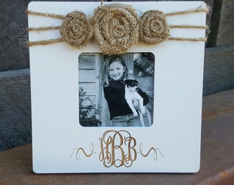 monogram picture frame personalized frame custom photo frame shabby chic frame rustic picture frame