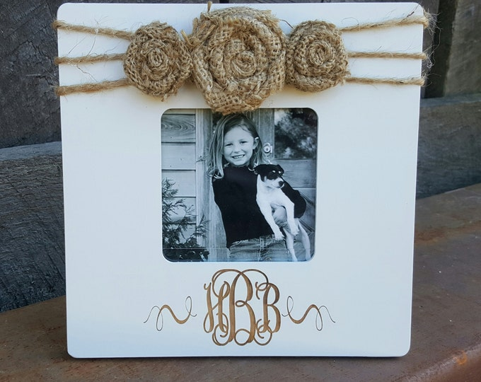 Monogram Picture Frame - Personalized Frame - Custom Photo Frame - Shabby Chic Frame - Rustic Picture Frame