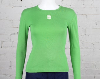 1970s Emilio Pucci Top Lime Green white Logo cotton jersey long sleeve shirt M