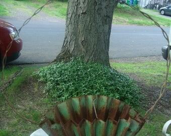 antique metal flower basket /  green fluted metal basket/ planter/ flower adisplay