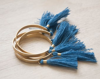 Tassel Bracelet -  Indigo Blue, Brass Cuff Bracelet, Rose and Gold Tassel, Stacking Bracelet, Bangles