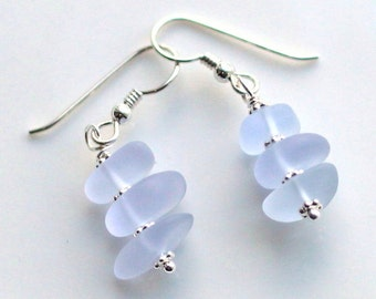 Cultured Sea Glass Pebble Dangle Earrings,  With TierraCast Hypo-Allerginic Steriling Silver Ear Wires, Periwinkle Dangle Earrings, 1 Pair