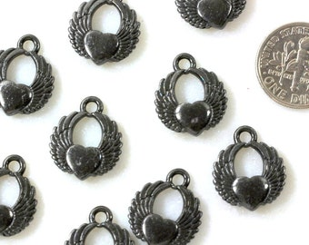 4 Winged Heart Charms, TierraCast Love Charms, Black Heart Charms, Black Winged Heart Charms, Antiqued Lead Free Pewter, 4 Pieces, 0513
