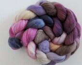 merino silk,Kiss of Plum, top, handpainted fiber for spinning, .4,2oz