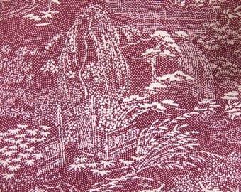 """13.4""""w. x 30.3""""l. Vintage kimono silk fabric scenery 2961I"""