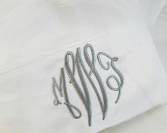 Monogrammed Pillowcase; Embroidered Pillowcase; Personalized Pillowcase; Wedding Gift