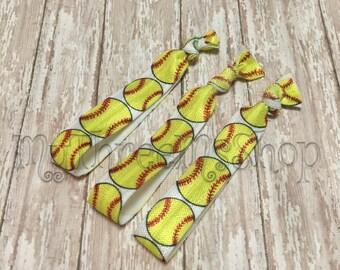Softball Favors, Softball Hair Ties, softball Foldover elastic, ball mom, ponytail holder, knotted hair band, yellow softball, girl hair tie