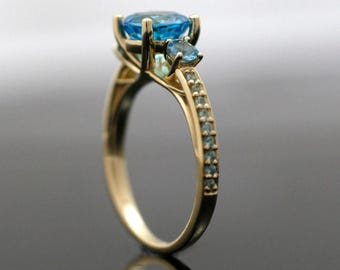 Blue Crush 3 Stone Ring - 14k and Topaz