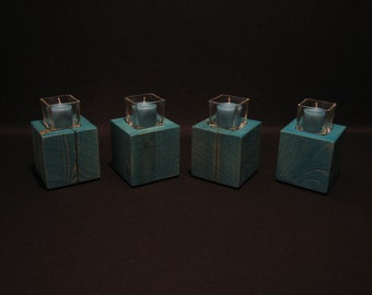 Rustic Rough Sawn Cedar Wood Square Votive Candle Holder Set In Lagoon Wedding Candles