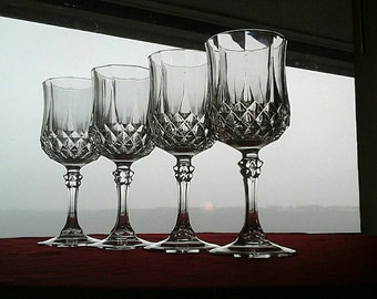 Set of 4 Vintage Cristal D'Arques-Durand Longchamp Leaded Crystal  Wine Glasses