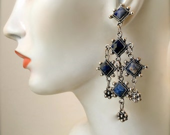 Vintage ~ Hand Made, TAXCO, Mexico Chandelier Dangle Earrings TD-102 | .925 Sterling Silver, Five Purple Blue Natural Stones | 35.38 gm