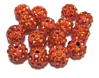 10pcs Orange Polymer Clay Rhinestone Beads Pave Disco Ball Beads - Grade A 10mm