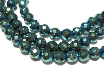 1 Strand Iris Green Faceted Round Hematite Beads Non-magnetic 5mm Stone Beads