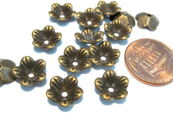 50pcs Antique Bronze Flower Bead Caps 9mm