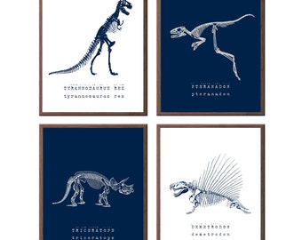 Paleontology Art for kids - Boys Nursery Art - Kids Wall Art - Playroom Art - Dinosaur Nursery Art - Boys Wall Art - Set of 4 Art Prints
