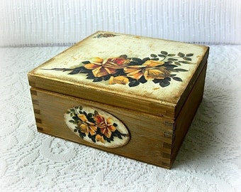 Vintage style wooden tea box , jewelry box , jewellery box , decoupage.box , yellow roses , vintage roses