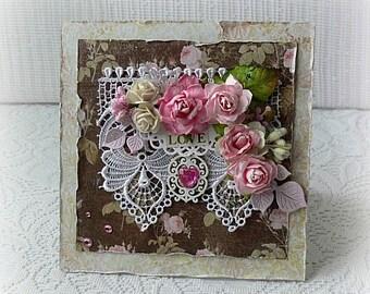 "Handmade  wedding card , vintage roses card , 3D wedding card , engagement card ,  Love card , anniversary card ,  6"" x 6 "" card"