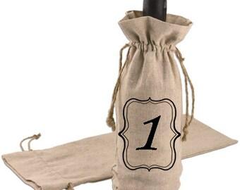 Wine bottle bag table number/ wine bottle table number/wedding wine bag/wedding table number/table number/ wine bag/ wine bag table number