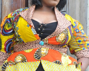 African Print Patchwork Jacket (Plus Size)