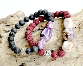 Amethyst Lava Bracelet - Gemstone Jewelry - Big Amethyst with Lava beads - Medium size elastic