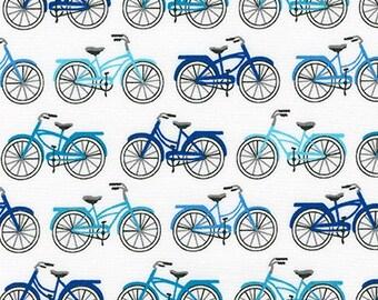Fabric - Robert Kaufman - Everyday favorites Blue push bikes cotton print - woven cotton