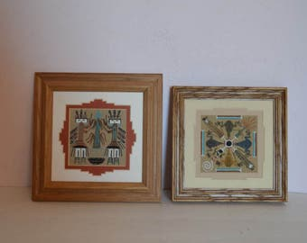 Two Vintage Signed Navajo Sand Painting