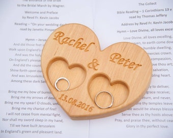 Personalized Wood Ring Box, Wedding Ring Bearer Pillow, Rustic Wedding Ring Holder, Wood Heart Ring Bearer, Rustic Wedding Decor