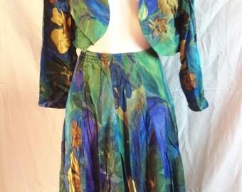 Tailor / together, spencer and skirt panels, multicoloured jacket, T F 36 / 38, UK 8, US 27 / 10.