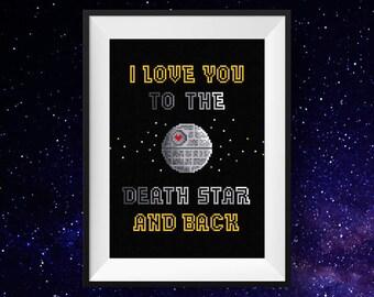 Modern Cross Stitch Pattern | Star Wars Cross Stitch Pattern | Death Star | Love Quote | Geeky Cross Stitch Pattern | DIY Nerdy Gift For Him