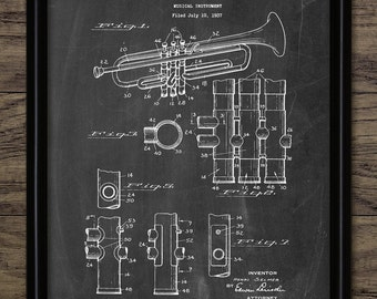 Vintage Trumpet Patent Print - 1939 Brass Instrument Design - Music Room Art - Brass Band Musician - Single Print #1197 - INSTANT DOWNLOAD